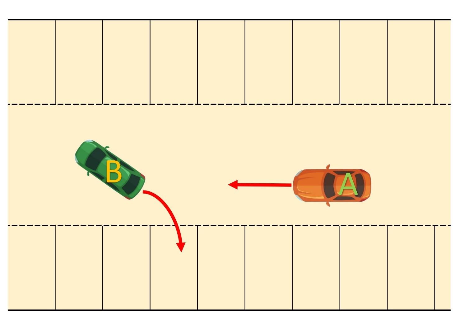 【図】車同士/駐車場内/通路を進行する車と通路から駐車区画に進入する車