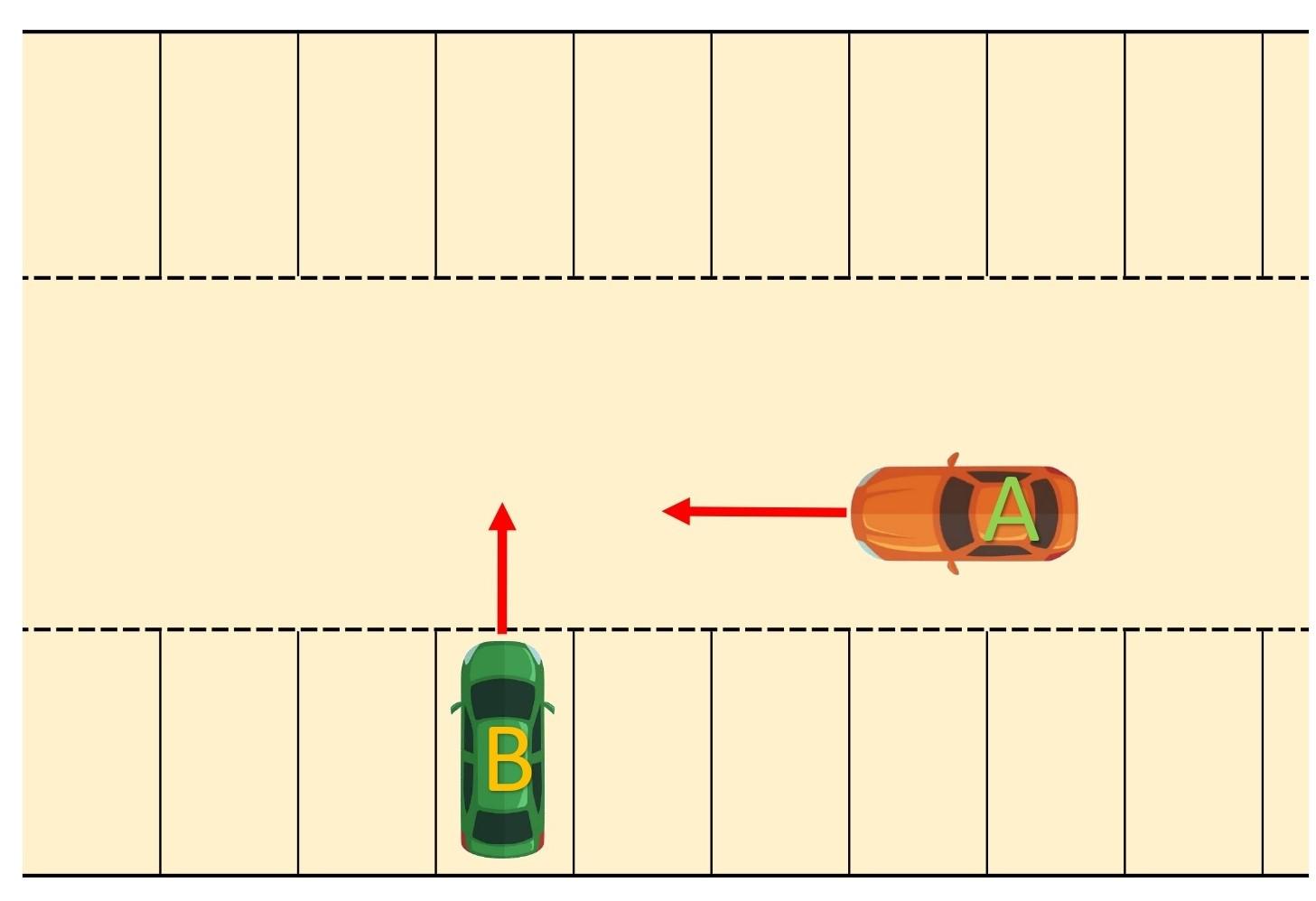 【図】車同士/駐車場内/通路を進行する車と駐車区画から通路に進入する車