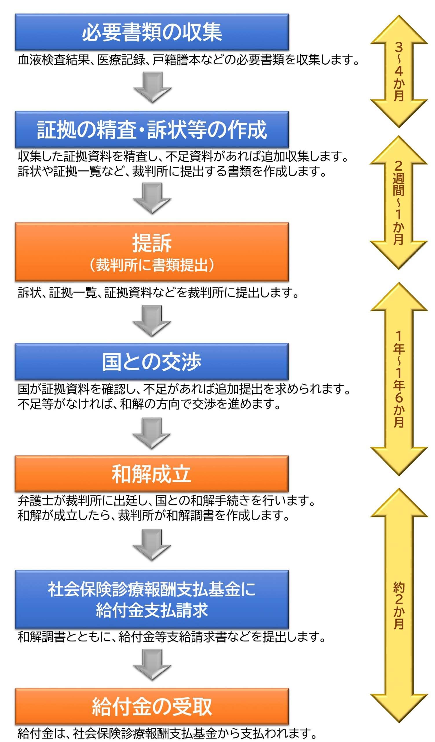 Procedure flow and required period for hepatitis B proceedings