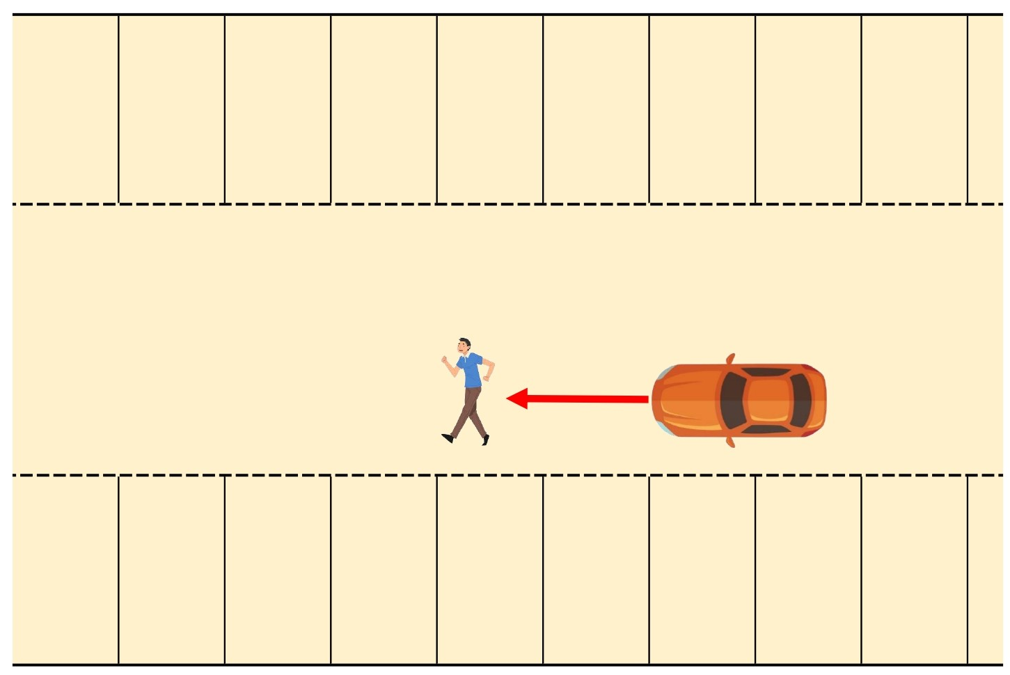 【図】駐車場内/歩行者と四輪車/通路