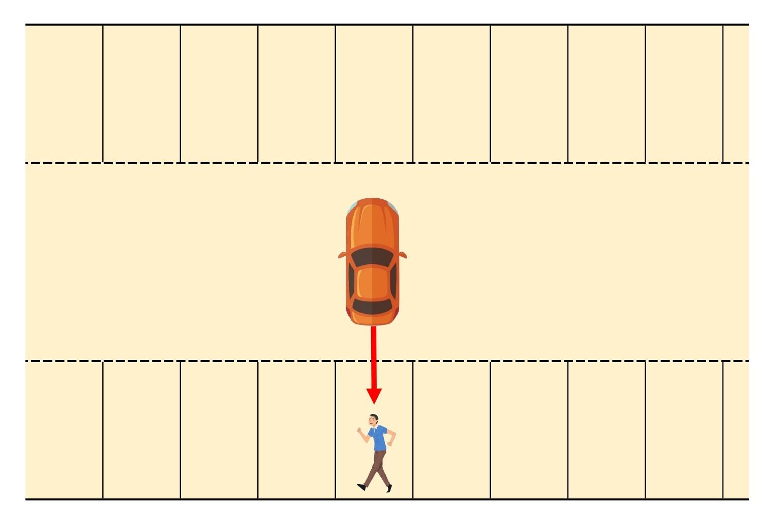 【図】駐車場内/歩行者と四輪車/駐車区画内